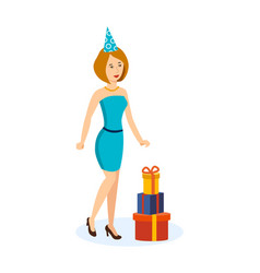 girl in a beautiful dress and hat celebrating vector image