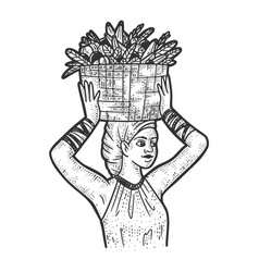 Girl with a basket fruits on her head sketch vector