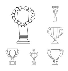 Gold cup outline icons in set collection for vector