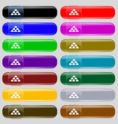 Gold Icon sign Set from fourteen multi-colored vector