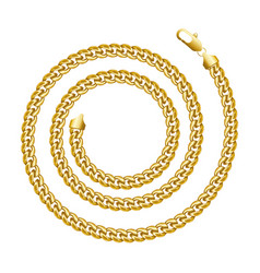 Golden chain round spiral border frame wreath vector