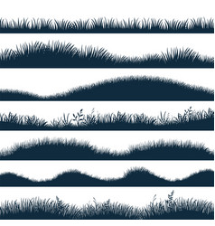 grass silhouette horizontal hills with plants and vector image