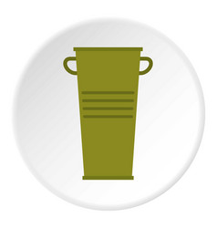 Green garbage tank with handles icon circle vector