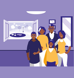 group of black family members in the livingroom vector image