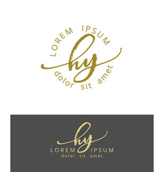 h y handdrawn brush monogram calligraphy logo vector image