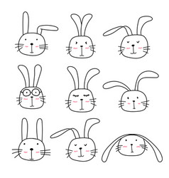 hand drawn bunny cute characters set vector image