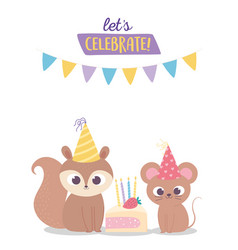 Happy birthday cute squirrel and mouse with party vector