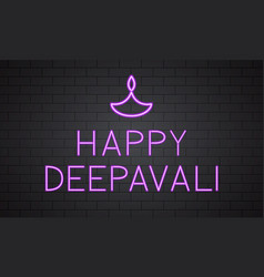 Happy deepavali lettering with diya neon sign on vector