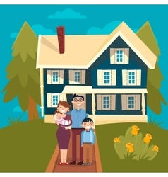 Happy Family with Newborn Baby and New House vector
