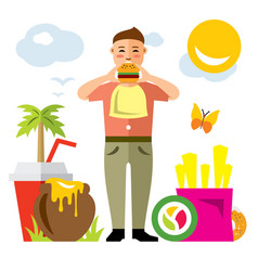 happy hipster man with hamburger flat vector image