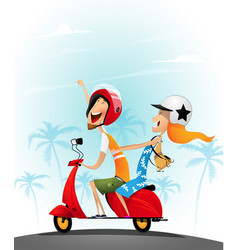 Happy young couple having fun on a scooter vector
