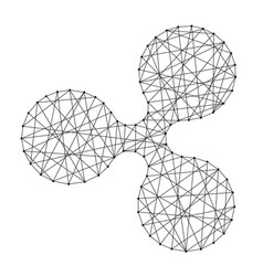 Icon ripple cryptocurrency from polygonal mosaic vector
