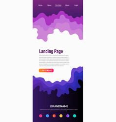 landing page design template wave origami paper vector image