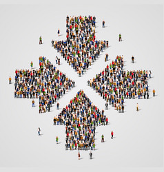 Large group people in convergent arrows vector