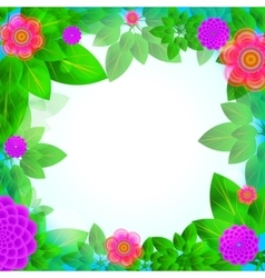 Leaves and flowers frame vector