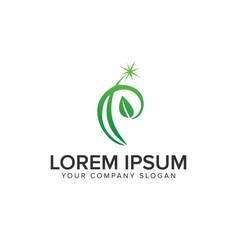 letter p leaf logo design concept template vector image