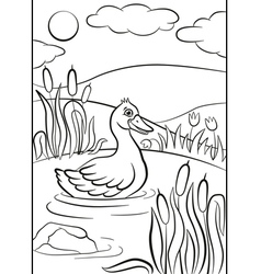 Little cute duck swims on the pond Its smiling vector