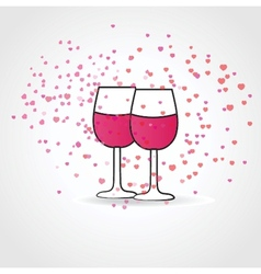 Love drink with two wine glasses and hearts vector image