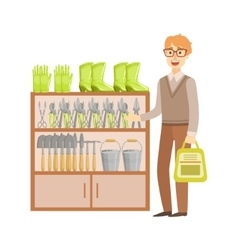 Man Shopping For Gardening Equipment Shopping vector
