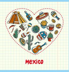 Mexico pen drawn doodles collection vector
