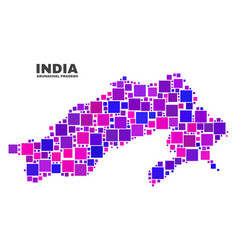 mosaic arunachal pradesh state map of square items vector image