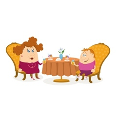 Mother and son near table isolated vector image