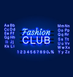 neon fashion club text banner night sign board vector image