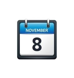 November 8 Calendar icon flat vector