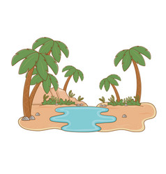 Oasis with palms and lake scenery cartoon vector