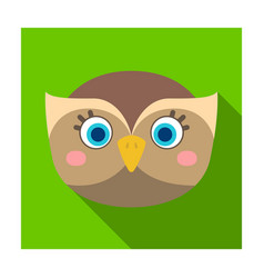 Owl muzzle icon in flat style isolated on white vector