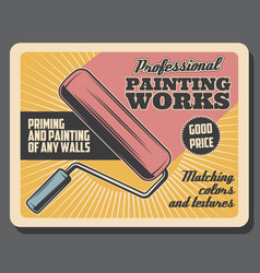 painting works renovation paint roller vector image