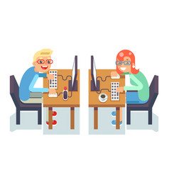 pc monitor programmer gamer table chair guy girl vector image