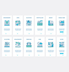Pollution water air nature resources ux ui vector