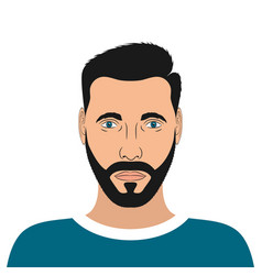 portrait a young man with beard and hair style vector image