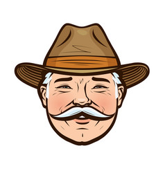 portrait of a smiling farmer in a hat vector image