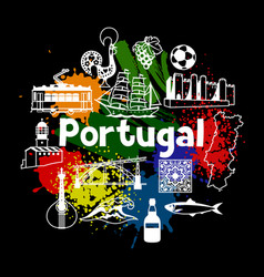 Portugal print design portuguese national vector
