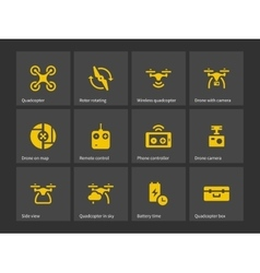 Quadrotor with remote control icons vector image