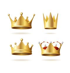 realistic detailed 3d golden royal crown set vector image