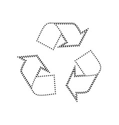 recycle logo concept black dotted icon on vector image