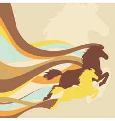 Retro background with horses vector