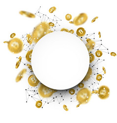 Round background with falling gold bitcoins vector