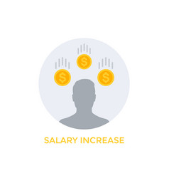 Salary increase icon on white vector