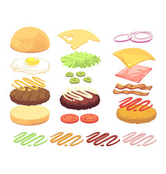 sandwich and burger food ingredients cartoon vector image
