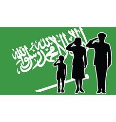 Saudi arabia soldier family salute vector