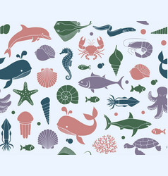 Seamless background with marine life vector