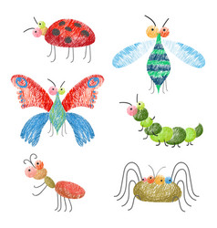 Set of funny colorful bugs on vector