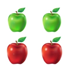 Set of green and red apples vector