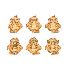 set of three monkeys dont vector image
