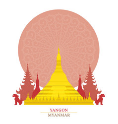 Shwedagon yangon myanmar with decoration vector