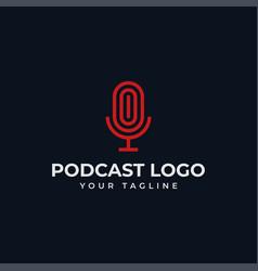 Simple microphone podcast radio line logo design vector